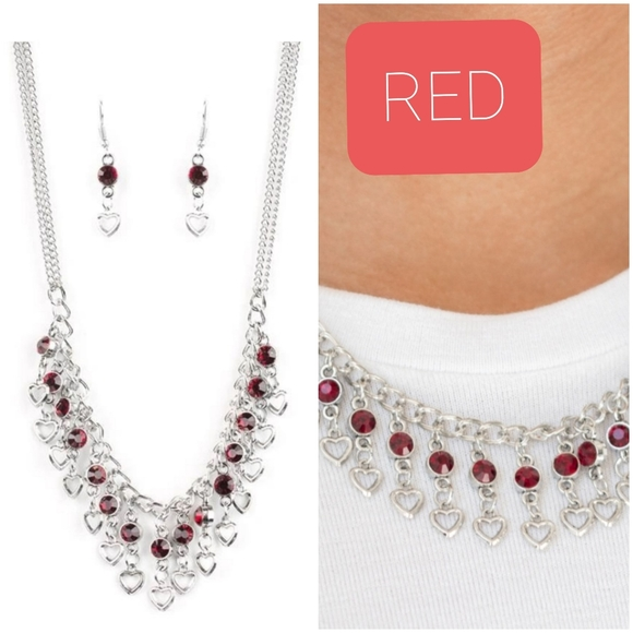 VALENTINES DAY DRAMA RED NECKLACE/EARRING SET